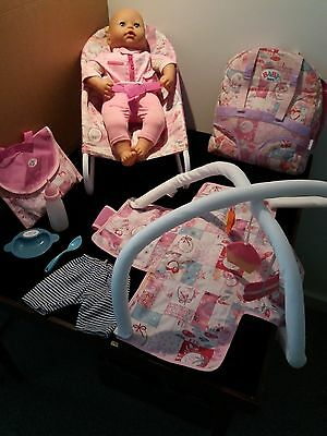 Baby born dolls, travel cot, bouncer. playmat & accesories