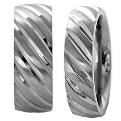 Titanium His & Hers Engagement Wedding Band Ring Sets Groove Tire Thread Design