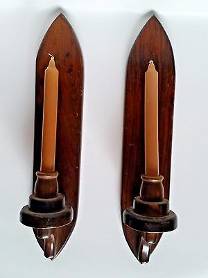 Pair of Vintage Rustic Wooden Gothic Candle Sconces Holders with Tan Candles