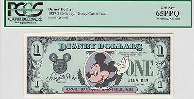 1987 $1 Disney Dollar PCGS 65PPQ First Year Issue Mickey Mouse Castle