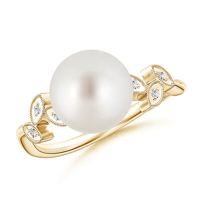 Vintage-Style Inspired South Sea Cultured Pearl Ring And Diamond 14K Yellow Gold