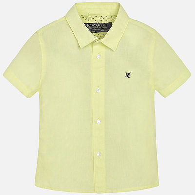 Spanish Designer MAYORAL Baby Boys short sleeved Linen Shirt Lemon NEW SEASON