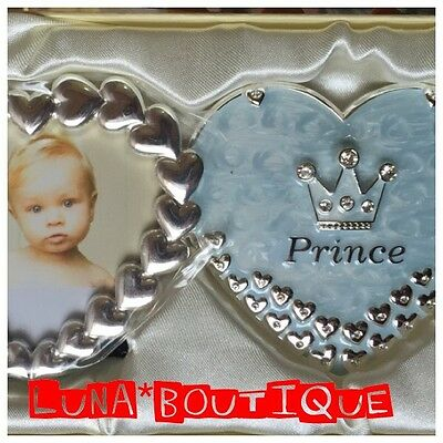 Prince Double Heart baby Boy Photo Frame- Silver Plated Twin Picture Frame