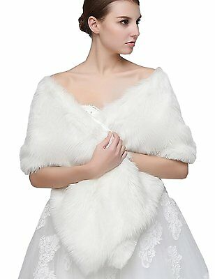 ClearBridal Womens Faux Fur Wrap Shawl Cape Party Or Wedding In Ivory C17005