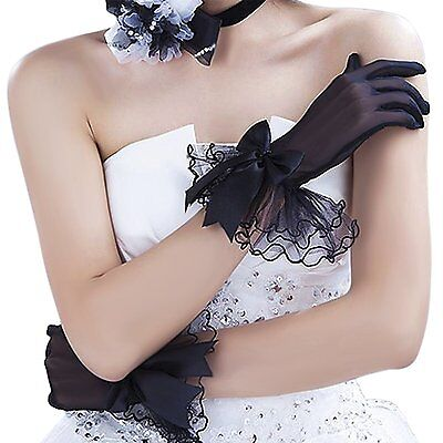 Bridal Gloves, Women Fashion Black Lace Tulle Bowknot Short Party Evening Prom