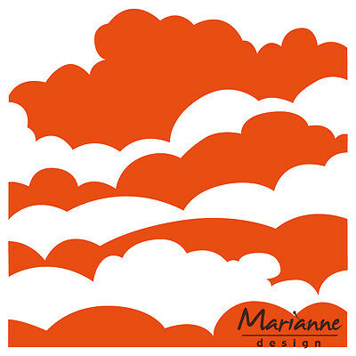 Marianne Design Craft Pattern Embossing Folder Clouds Nature Df3434