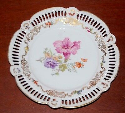 "Antique German Porcelain plate 10"" floral design cutouts scalloped. Insects"