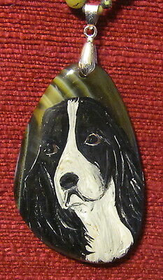 English Springrer Spaniel hand painted on a freeform, green striped Onyx Agate p