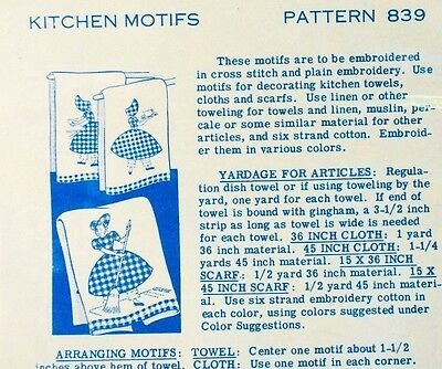 Vintage~Laura Wheeler Designs Pattern # 839 EMBROIDERING~house chores girl