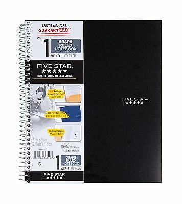Five Star Spiral Notebook Graph Ruled 1 Subject 8.5 x 11 Inches 100 Sheets - NEW