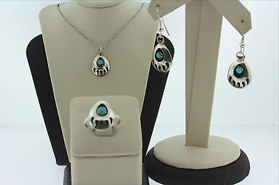 Native American Sterling Silver 925 Handmade Shadow Bear Claw Complete Set