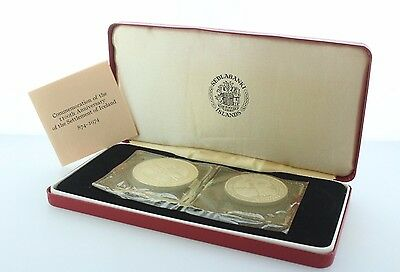 1974 Iceland Two Silver Proof Coins Commemorating 1100th Anniversary of Iceland