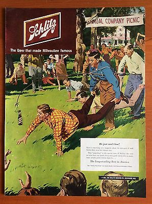 """1951 SCHLITZ BEER PRINT AD, Art by Austin Briggs, """"He just can't lose!"""", Picnic"""