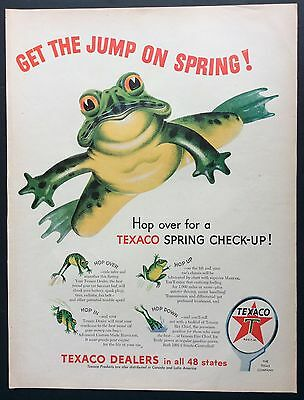 "1954 TEXACO ""Spring Check-Up"" PRINT AD, Frogs, Nice Retro Art"