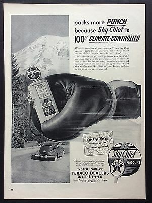 1953 TEXACO SKY CHIEF GASOLINE PRINT AD, Old Gas Pump, Boxing Glove