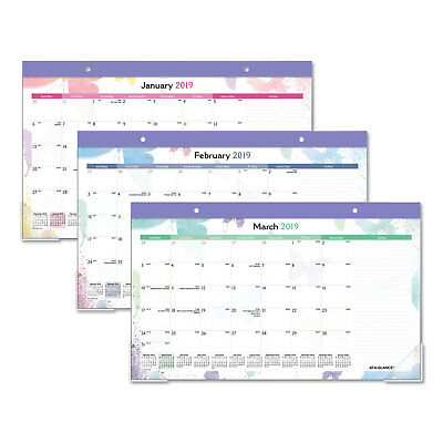 AT-A-GLANCE Watercolors Recycled Monthly Desk Pad Calendar 17 3/4 x 10 7/8 2018