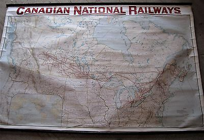 1923 Cnr Canadian National Railway Railroad  Map 5.5 Ft Grand Trunk Vermont