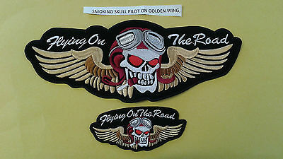 1+1 Pc  Big & Small Size Skull Pilot Golden Wing Biker Emb Patch Sew-On