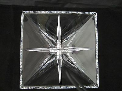 XXL square shape compass cut centrepiece bowl Rogaska heavy crystal signed 3.8kg
