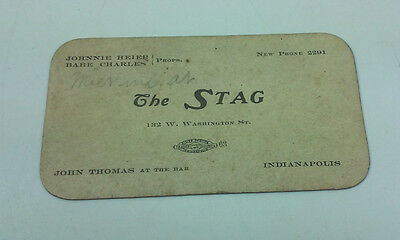 Antique Bar The Stag 132 W Washington St Indianapolis Business Trade Card