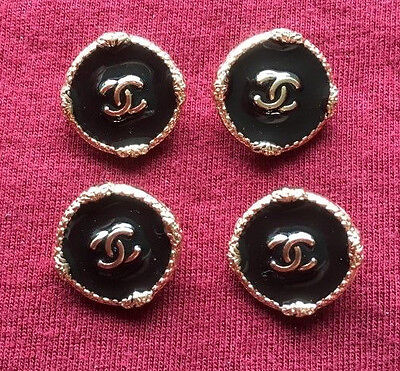 SALE!!! Chanel Buttons Set of 4 Black Enamel and Gold Color 1.5cm