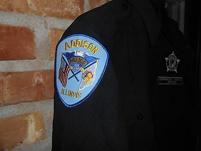 Vintag Addison Police Community Service Officer Patch Uniform Long Sleeve Shirt