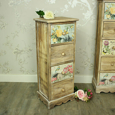 Floral 4 drawer tallboy chest of drawers shabby vintage chic bedroom furniture