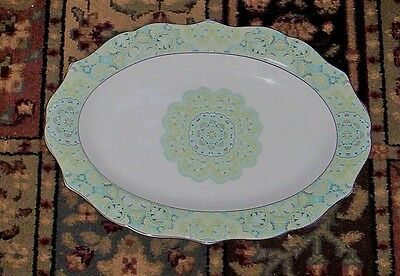 222 Fifth Lyria Teal  ~ Serving Meat Platter Fine China  ~ Medallion Style 14""