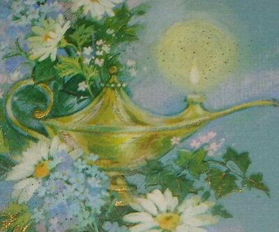 "Vintage greeting card,wish genie lamp flowers graduation,Hallmark, 6 1/2"" used"