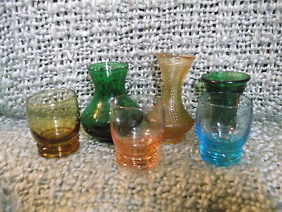 Lot of 6 decorative miniature Glass vases & tumblers colorful etched