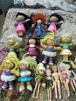 """Lot of 14 mini-dolls  6 Cabbage Patch  5 Polly Pocket & 3 other 4"""" dolls"""