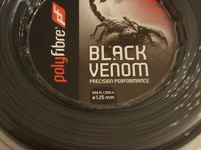 200m Polyfibre Black Venom Reel 1.25mm Tennis String