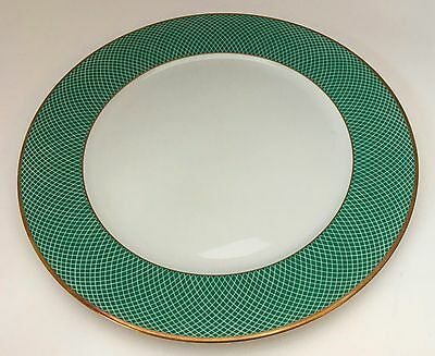 1 Block Spal Green Fields Dinner Plate White Green Lattice Gold Trim