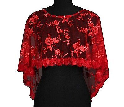 Dobelove Womens Wedding Cape Evening Wrap Shoulder Covers Lace Edge Red A-1