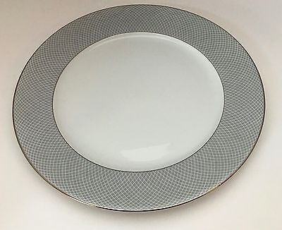 1 Block Spal Gray Dawn Dinner Plate White Gray Lattice Silver Trim