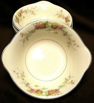 The HARKER POTTERY CO USA 4 bowl set SWEETHEART ROSE Gold Verge Tab Handle
