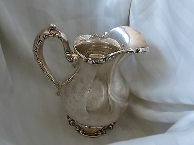 FRANK WHITING STERLING WATER PITCHER  script monogram DUHME BROS