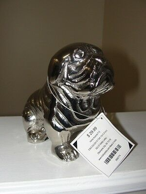 """english Bulldog"" Silver Like Statue With A Tag"