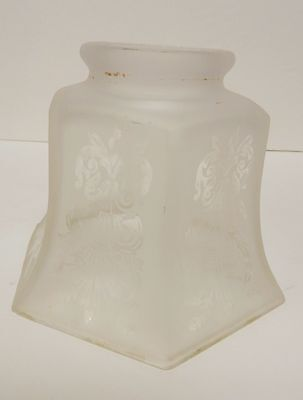 "Vintage Antique Frosted Glass Lamp Shade Victorian Heavyweight 5""T"
