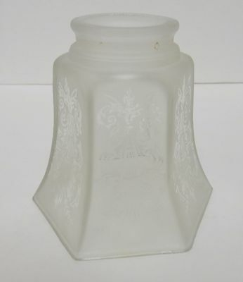 "Antique Vintage Frosted Glass Lamp Shade Victorian Heavyweight 4.25""T"
