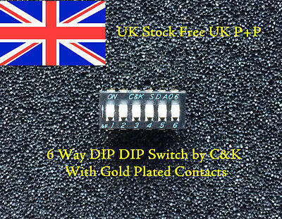 2x6 Way DIL DIP Switch Gold plated Beryllium copper Contact UK Stock Free UK P+P