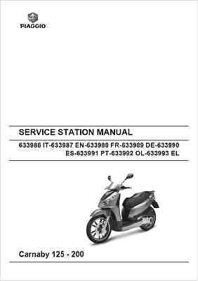 Piaggio Carnaby 125-200 Service Station Manual 2007- (B100)