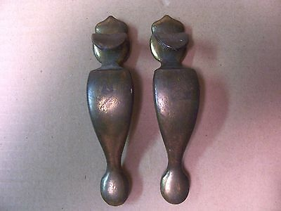 (2) Vintage Brass Finish Door Pulls / Handles -- Drawer Pulls -- Screws Included