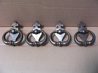 (4) Vintage Brass Finish Drawer Pulls / Handles -- Original Screws Included
