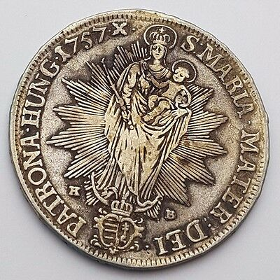 Dated : 1757 X - Hungary Thaler  - Silver Coin - S • MARIA • MATER - Rare