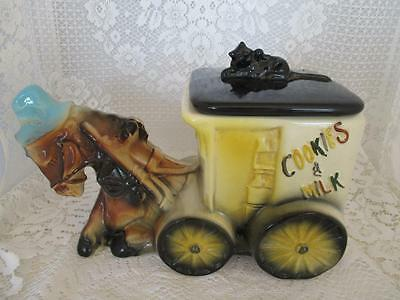 Vintage American Bisque Cookie Jar~Donkey pulling Cart~USA