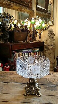 Victorian Crystal Compote Saw Tooth Cut Etched Octagon Bowl On Brass Stand