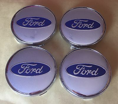 4X FORD ALLOY WHEELS CENTER HUB CAPS SET for Ford Vehicles in Silver 60mm Size