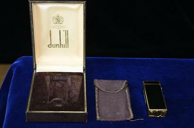 Vintage Dunhill Rollagas Lighter, Black Laqueur and gold tone edge-