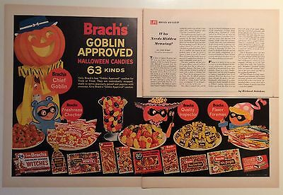 "1964 BRACH'S ""GOBLIN APPROVED"" HALLOWEEN CANDY PRINT AD, 2 PAGES, Fun Art !!"